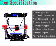 Newest Upgraded Quality High Precision Reprap Prusa I3 3D Printer DIY Full Kits with 1 roll