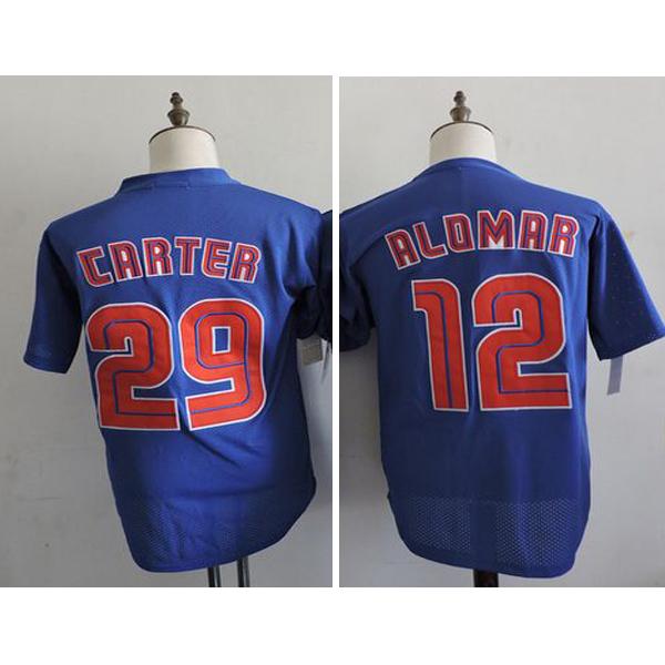 New Cheap #29 Joe Carter Mens Jerseys #12 Roberto Alomar Mens Royal Cooperstown Mesh Batting Practice Baseball Jersey(China (Mainland))