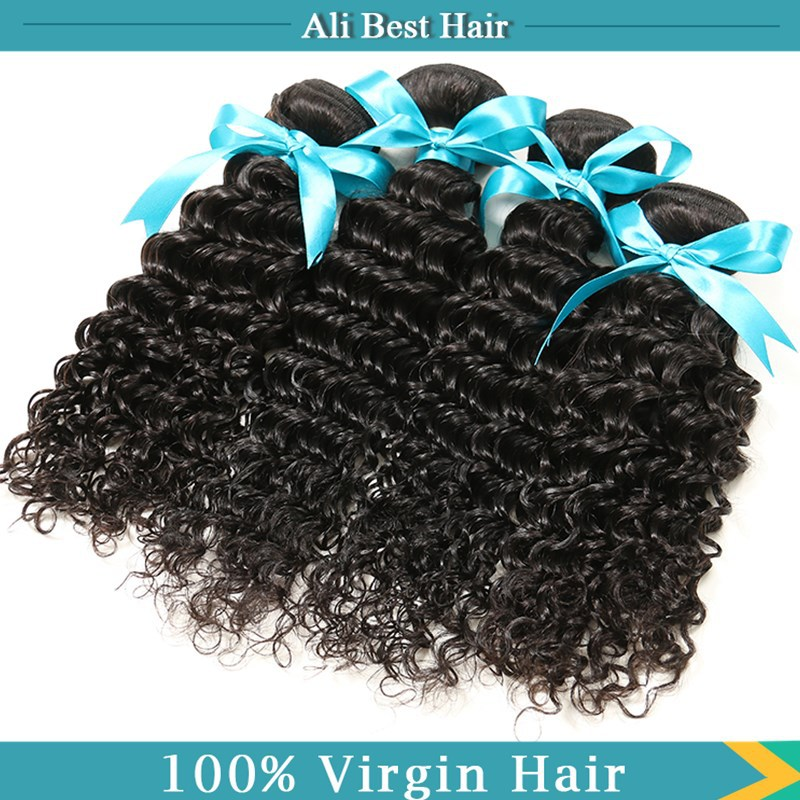 Rosa Hair Company Malaysian Deep Wave Virgin Hair Natural Black Malaysian Virgin Hair 4 Bundles Deep Curly Human Hair Weave(China (Mainland))
