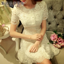 dabuwawa summer dress 2016 new vintage sweet casual short sleeved buttons slim lace party dresses women white pink doll