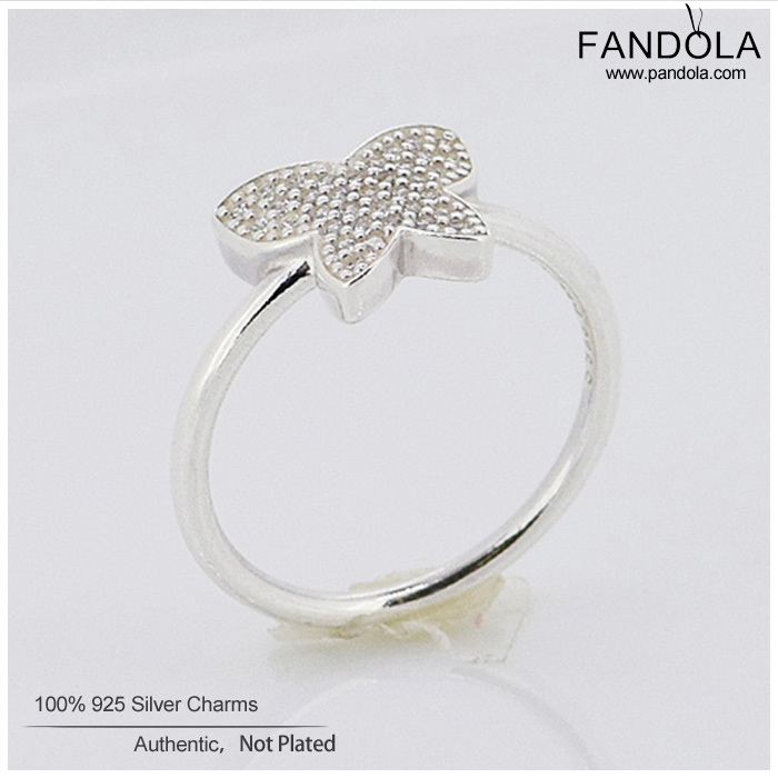 Genuine 925 Sterling Silver Ring For Women Butterfly Rings With Cubic Zirconia Original Jewelry Wedding Gift Wholesale(China (Mainland))