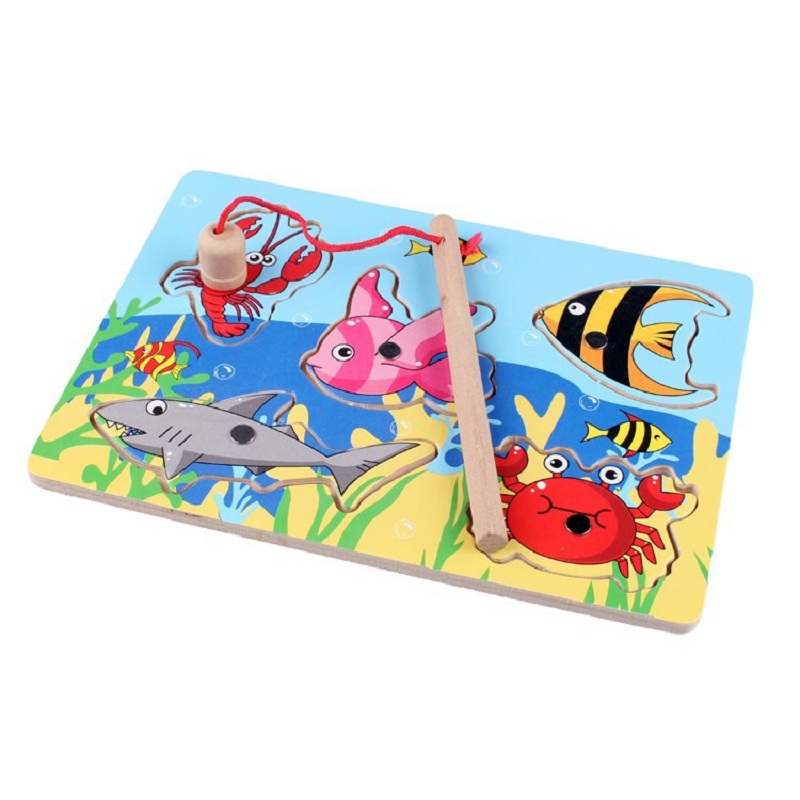 New Wooden Magnetic Fishing Game & Jigsaw Puzzle Board Children Toy(China (Mainland))