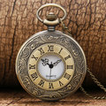 Retro Bronze Engarve Roman Number Pocket Watch Antique Men Women Fob Watch With Necklace Chain Relogio