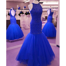 Gorgeous Fully Handmade Beaded Prom Dresses 2016 Long Red Prom Dresses Mermaid Formal Gowns Open Back Evening Gowns(China (Mainland))