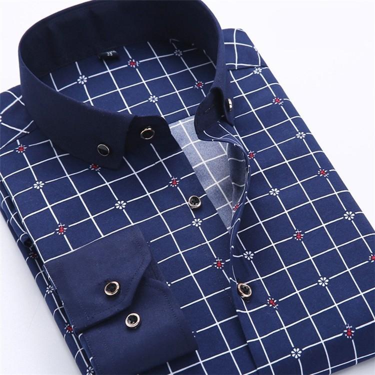 Men Dress Shirt 2016 Spring New arrival Button Down Collar High Quality Long Sleeve Slim Fit Male Business Shirts M-5XL YN02613