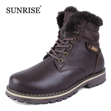 2015Winter Boots Men Genuine Leather Shoe New Warm Motorcycle Boots for Man Men's Shoes Botas Real Leather Boot(China (Mainland))