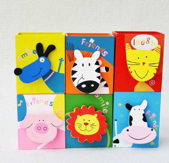 Children Kids Wooden Animals Stationery Cartoon Pen Holder School Education Supplies Toys(China (Mainland))