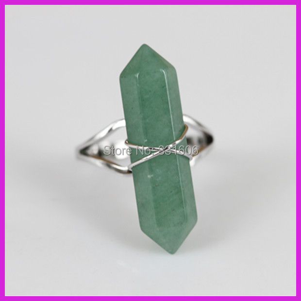10PCS Natural Green Aventurine Crystal Quartz Finger Ring,Adjustable Silver Wire Wrapped Hexagon Druzy Stone Charm Ring Jewelry(China (Mainland))