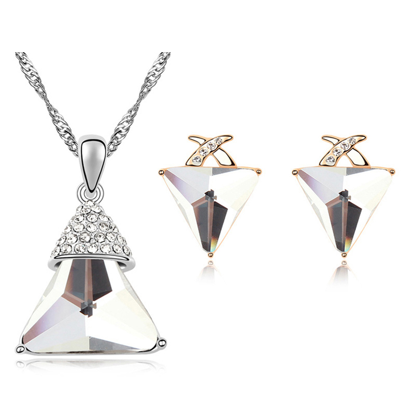 Women Vintage Jewelry Sets Austrian White Crystal Triangle Earrings Necklace Set Pyramid Design Cheap Jewellery Trendy Brand - MJSZ store Min. Order $ 10 USD