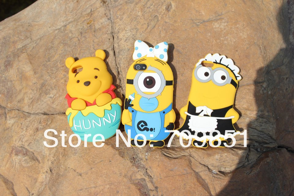 2013 New arrival Despicable Me minions baby maid Silicone Case for iPhone 5 5s,PPbag packaging, free shipping(China (Mainland))