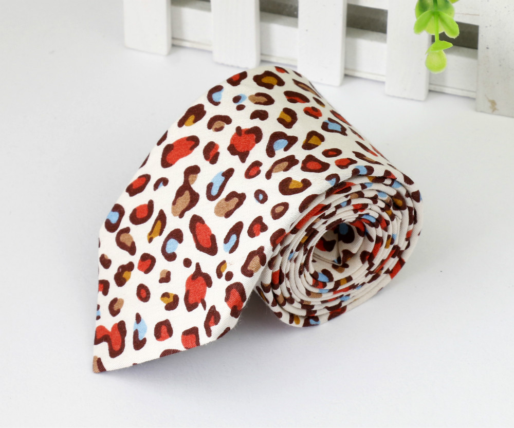 2015 New Style Leopard Print Necktie For Men 100% Cotton Casual Men Ties Free Shipping(China (Mainland))