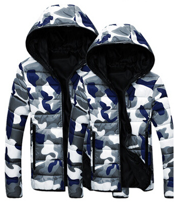 Lovers camouflage hooded men casual coat big yards down cotton jacket warm winter clothes men s