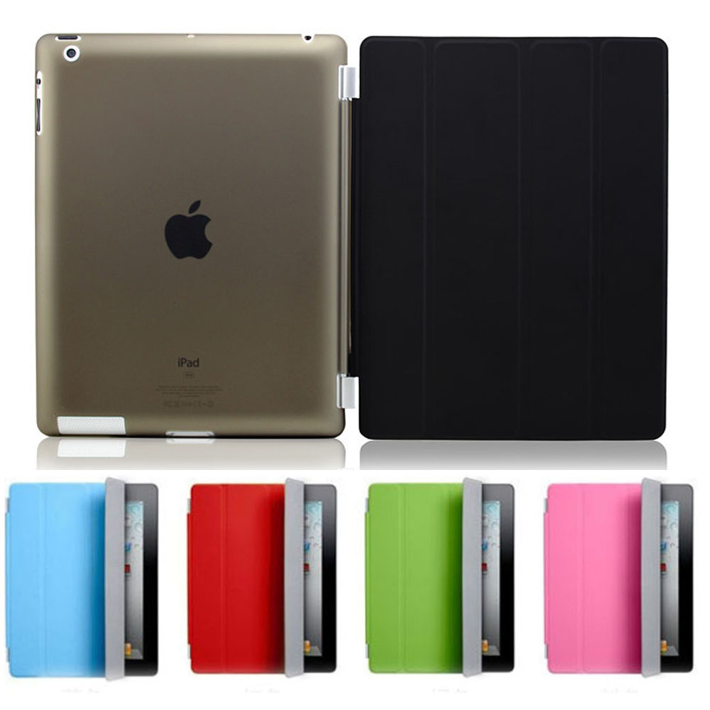 1 Pair/lot PU Leather Slim Magnetic Four Folding Front Smart C0over Skin + Hard PC Back Case For ipad 2 3 4 ipad3 ipad4 case(China (Mainland))
