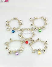 Fashion Glass Pearl Bracelets,  with CCB Acrylic Pendants,  Iron Chains and Alloy Lobster Claw Clasps,  Heart,  Mixed Color(China (Mainland))