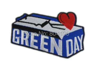 "3.54"" Green Day Blue Music Band Heavy Metal Iron On/Sew On Patch Tshirt TRANSFER MOTIF APPLIQUE Rock Punk Badge(China (Mainland))"