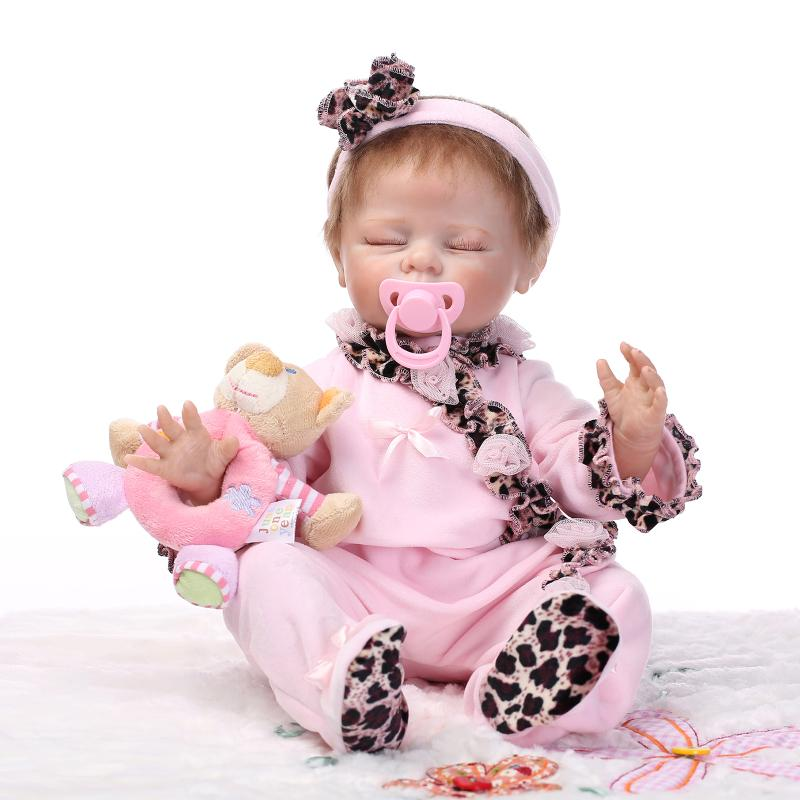 """20"""" Silicone Reborn Baby Realistic Sleeping Girl Doll Kids Playhouse Toys Shooting Model Decorations(China (Mainland))"""