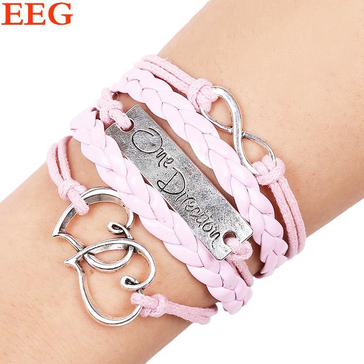 Loom bands pulseras feminina fashion LOVE bracelets for women genuine Leather bracelets alloy heart charm bracelet diy handmade(China (Mainland))
