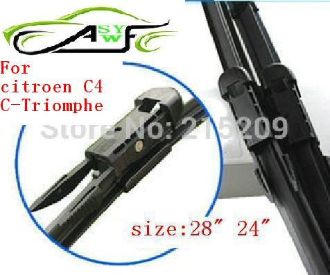 """Free shipping Soft Rubber WindShield car Wiper blade blades 2pcs/PAIR 28"""" 24"""" For citroen C4 C-Triomphe top quality(China (Mainland))"""