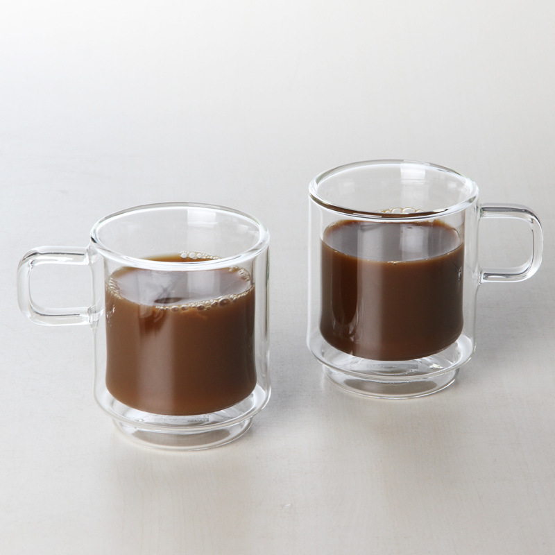 300ml a pair (2 pieces) Creative double layer tea ware/ glass coffee cup/ European glass coffee mug cup(China (Mainland))