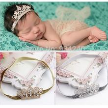 Accessori per capelli di cristallo corona fascia dei capelli dei bambini headwear della neonata principessa del bambino appena nato di cristallo superiore della perla hairband 613(China (Mainland))