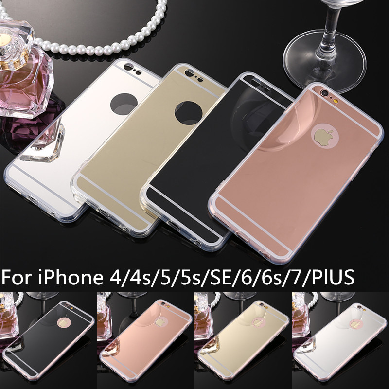 Luxury Soft TPU Case For iPhone 7 6 6s Plus SE 5s 5 4s 4 Mobile Phone Bags Case Mirror Plating PC Back Coque Cover Fundas(China (Mainland))