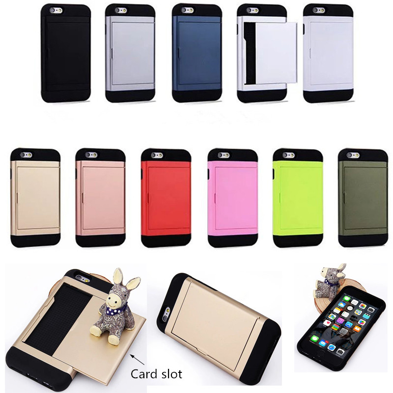 Business slim tpu + pc phone case For iPhone6S SGP card slot credit card invisible push phone case For iPhone 7 Free Shipping(China (Mainland))