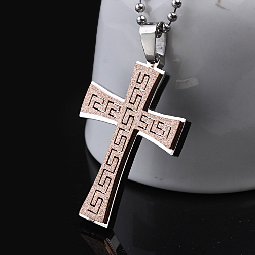 Free shipping 2016 new fashion 316L Titanium steel Rose Gold scrub the Great Wall carved Cross charm Pendant Necklace Jewelry(China (Mainland))