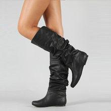 WETKISS Artı Boyutu 34-48 Orta buzağı Botları Takın Topuklu Kadın Pilili Çizmeler Kadın Yuvarlak Ayak Ayakkabı düz ayakkabı sonbahar Kış 2020(China)