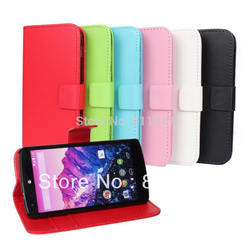 PU Leather Wallet Style Stand Case For LG Google Nexus 5 Mobile Phone Bag Cover with Card holder(China (Mainland))