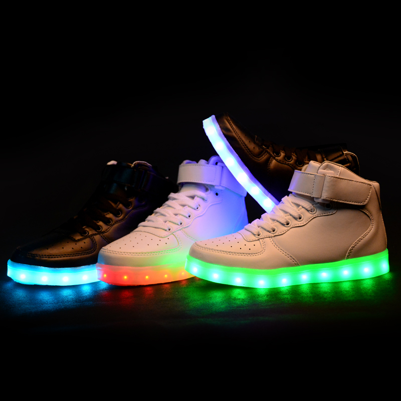 Plus Size High Top Pu Leather Men Casual Shoes Breathable Led Shoes for Adults High Top Light Up Female Shoes X911 35(China (Mainland))