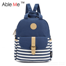 Lovely Striped Printing Backpack Women Rucksack Korean Style Girls Schoolbags High Quality Canvas Backpack Travel Bags Sac A Dos(China (Mainland))