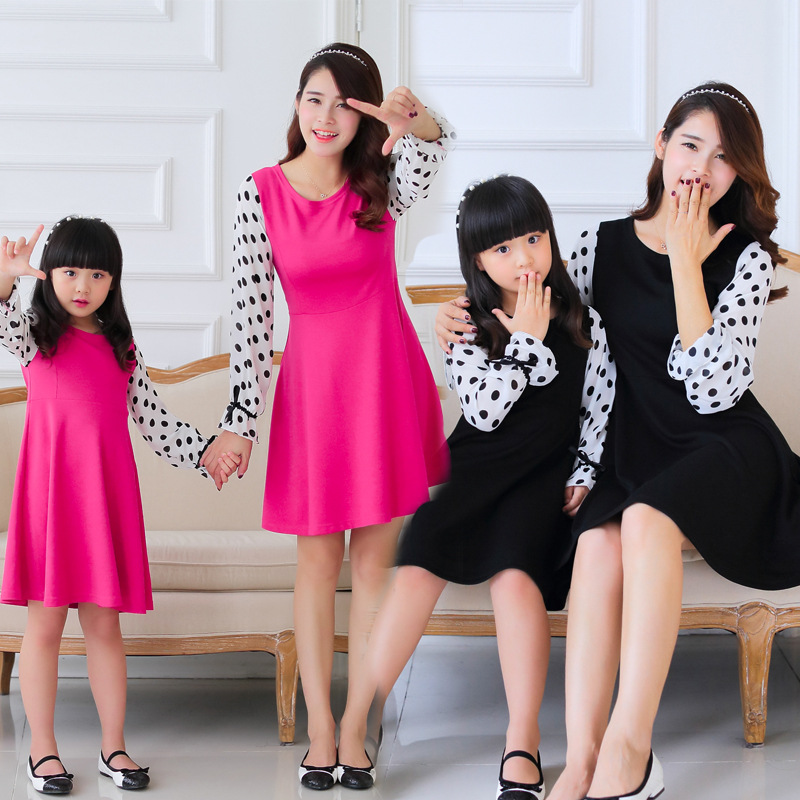 Mother Daughter Dresses New Autumn Korean Chiffon Sleeve Knit Dress Wholesale Women On Behalf Of The Parent Offspring Clothes(China (Mainland))