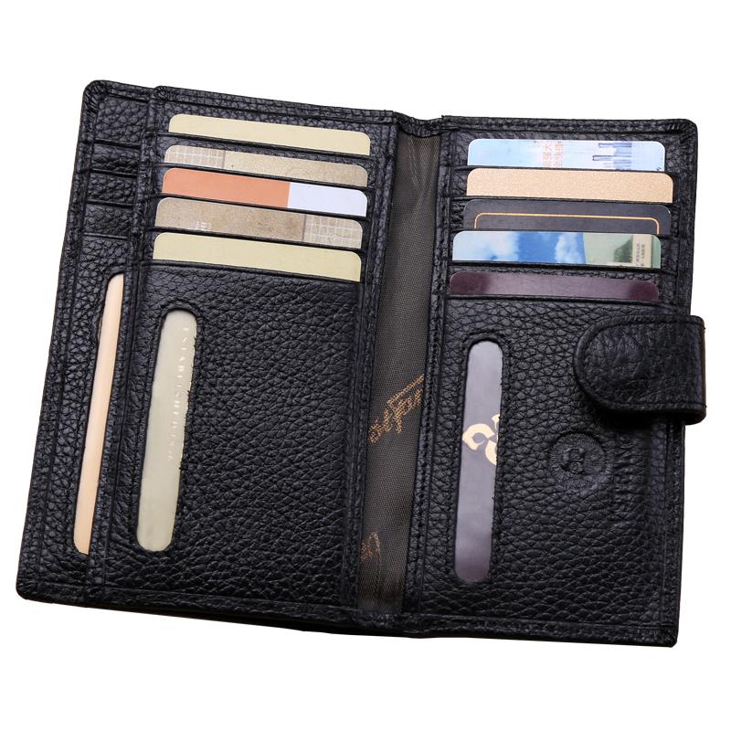 Fashion Women Men Business Genuine Leather Card Holder Famous Designer Brand Credit Card&ID Holder Bag Case Card Wallets Black(China (Mainland))