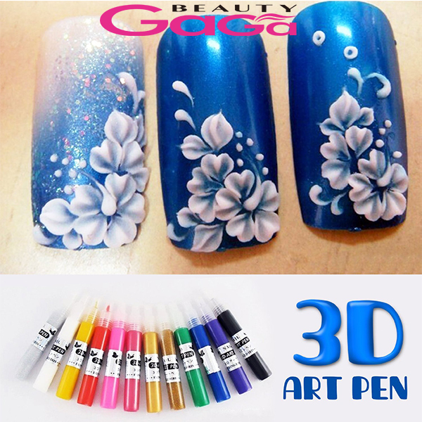 12 Colors 3D Acrylic Pigment Nail Polish Pen Solid Glitter Gel Nail Art Painting DIY Design Drawing Colourful Colouring Pens(China (Mainland))