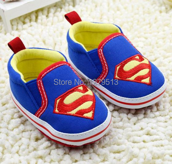2014 Hot sale! European and American fashion personality Cool Superman blue motif pattern First Walkers !baby shoes.(China (Mainland))
