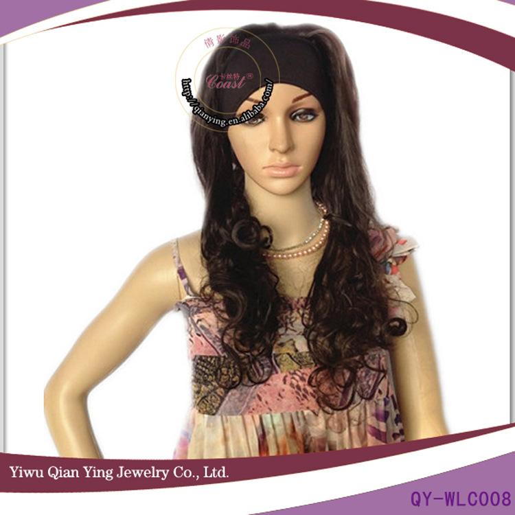 Ms brown practical hot curly wig No bang heat waves silk wig wholesale(China (Mainland))