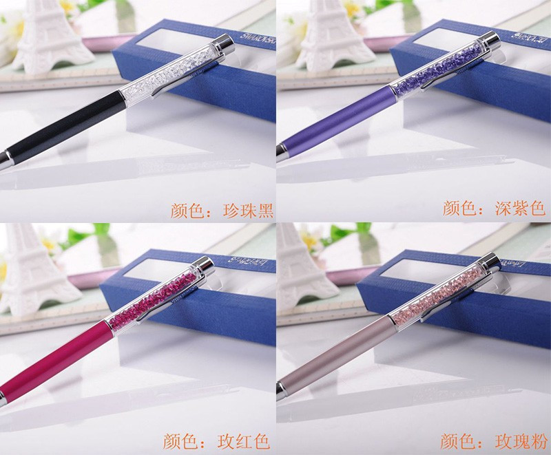 New Swarovski crystal pen flat top with gift box case lady student lovely crystals stellar Pen<br><br>Aliexpress