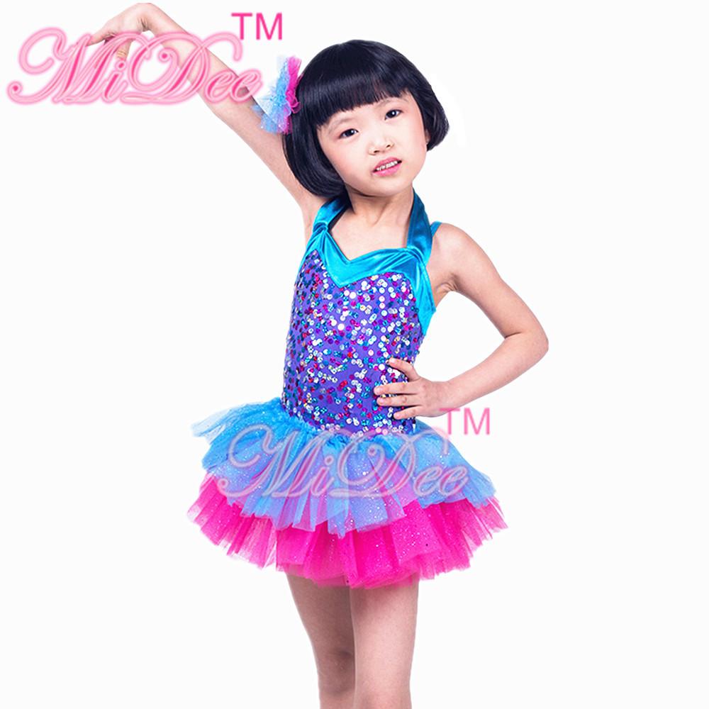 Two Tones Stage Ballet Dance Costumes Girls Leotards Ballroom Dancing Dresses Kids Team Costume - MiDee Store store