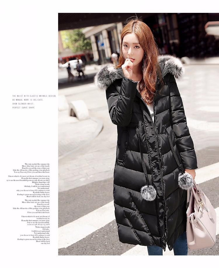 Скидки на ГОРЯЩЕЕ! 2016 зима новый женская куртка мода длинные стиль Тонкий Вниз парки с капюшоном куртка женщины пальто хлопка воротник overwear женский