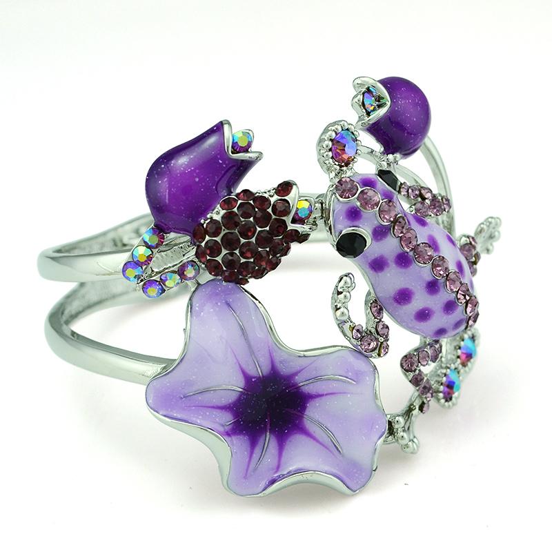 Fashion silver plated multielement purple rhinestone flower enamel glaze frog Amethyst cuff bangle bracelet - Fascinating Jewelry store