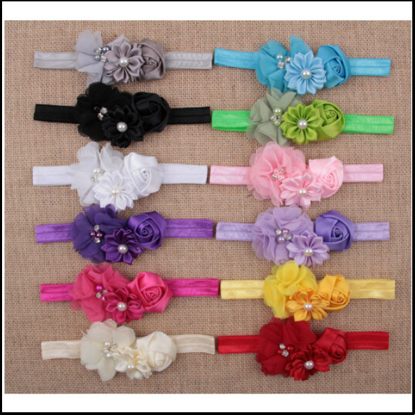 Free Shipping 2015 Elastic Headbands with pearl flower baby girl hair accessory infant rose flower hairbands headwear(China (Mainland))