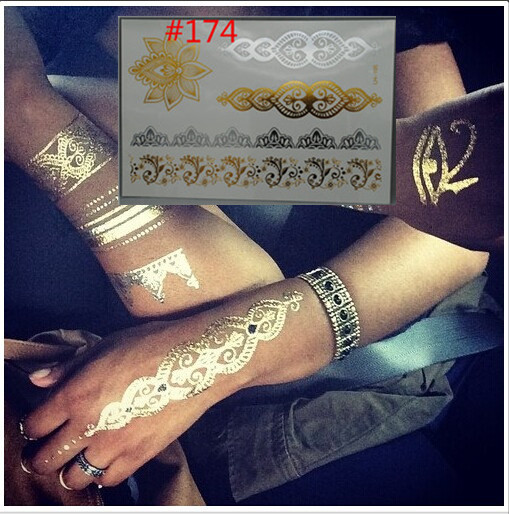 waterproof body art painting tattoo stickers glitter Metal gold silver temporary flash tattoo Disposable indians tattoos tatoo(China (Mainland))