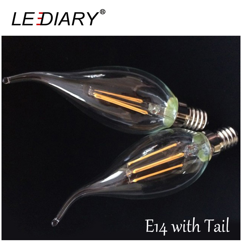 High Lumen Dimmable C35 E14 LED Filament Candle Bulb Retro Edison LED E14 Clear Lamp 2W/4W/6W 220V-240V Cold/Warm White 360 DEG(China (Mainland))