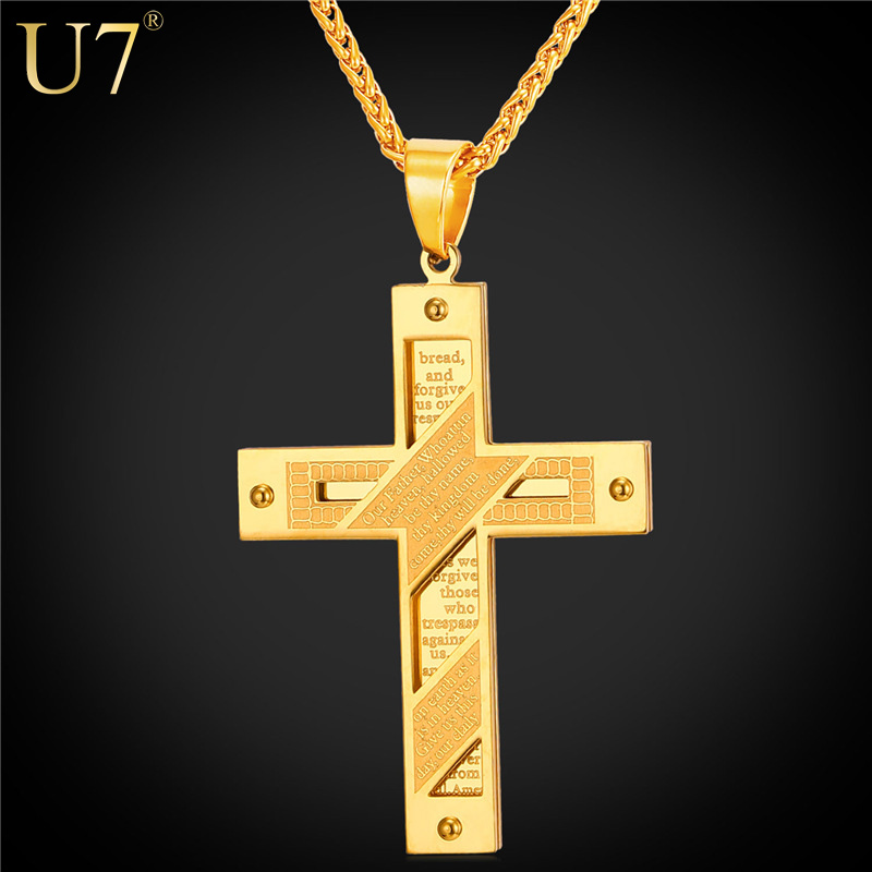 U7 New 18K Gold Plated Cross Men Necklace Stainless Jewelry Wholesale Holy Bible Trendy Double Sides Cross Pendant Jewelry P815(China (Mainland))