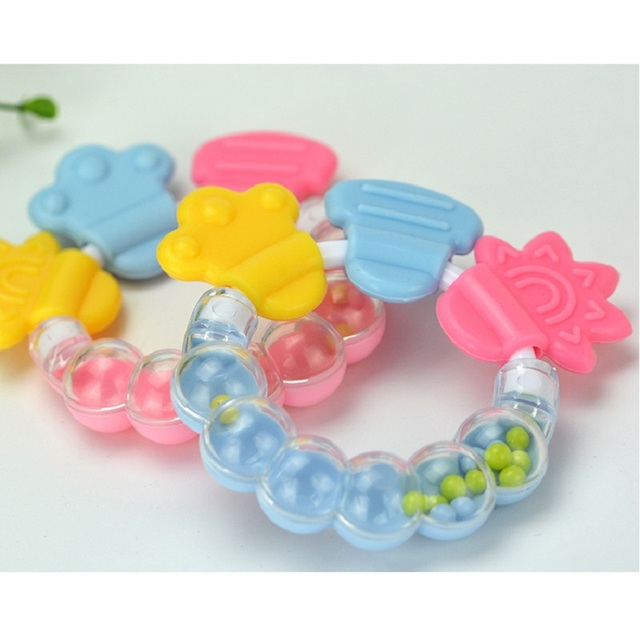 Baby Teether Silicone Teethers Baby Teething Ring For Tooth Chewing Training Tooth Toddler Bell Bijtring Mordedor Toothbrush