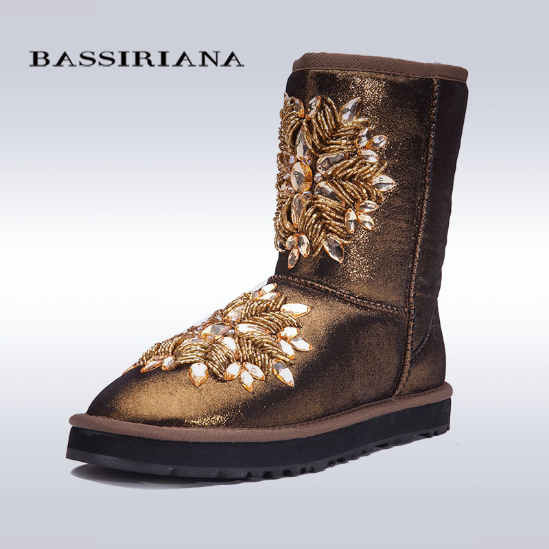 BASSIRIANA - women's fashion blue sheepskin snow boots with crystal decoration Free shipping(China (Mainland))