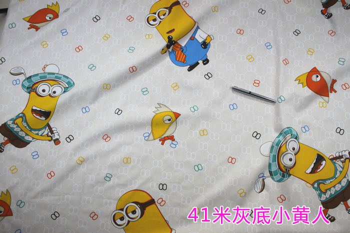"Quilting fabric, Minions Printed Cotton fabric, cotton twill Fabric, baby fabric, bedsheet, 62"" wide ,BTY, Free Shipping!!!(China (Mainland))"