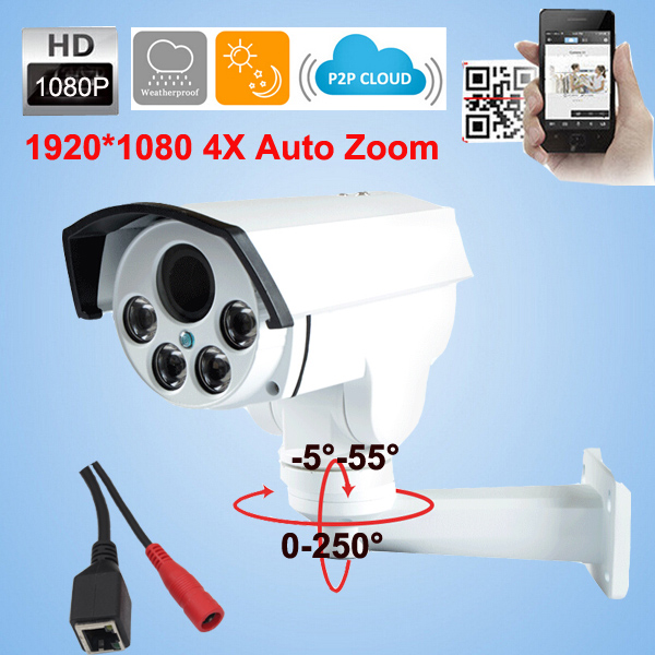 CCTV Camera 2.0MP Full HD 4X Optical Zoom Auto Iris IP Camera 2.8-12mm Onvif P2P Array Night Vision Camera w Power adapter<br><br>Aliexpress