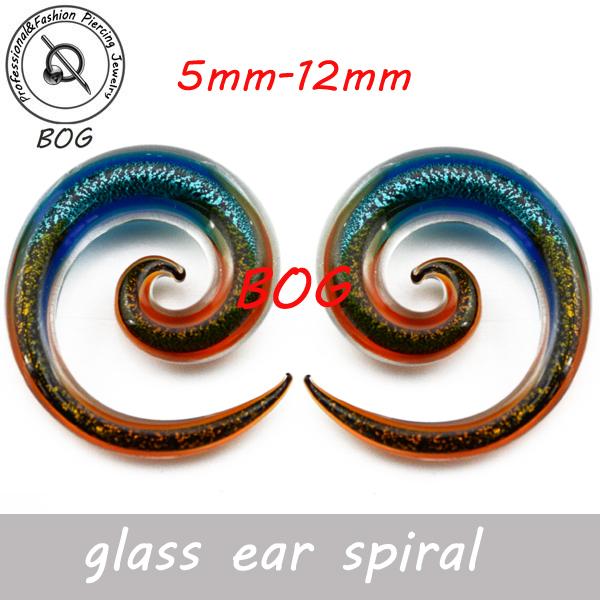 BOG- Pair Pyrex Glass Ear Spiral Taper Piercing Gauge Stretcher 2015 New Fashion(China (Mainland))