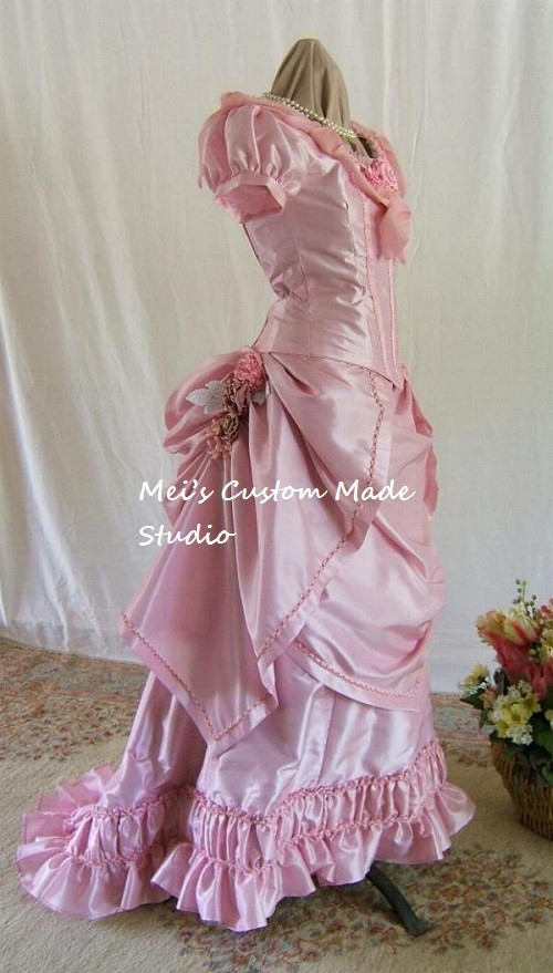 Costum Made 18th Era Princess Elizabeth Reproduction Pink Silk Taffeta Victorian Bustle Ball Gown/Party CostumeОдежда и ак�е��уары<br><br><br>Aliexpress